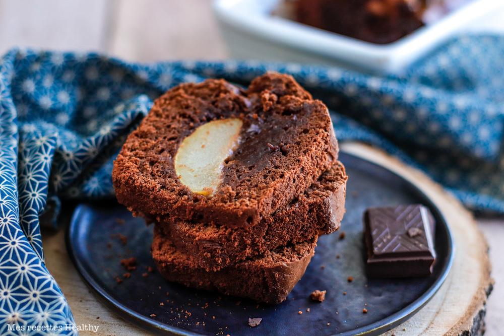 recette healthy-cake au chocolat-beurre de cacahuète-sans beurre-poire-fruit