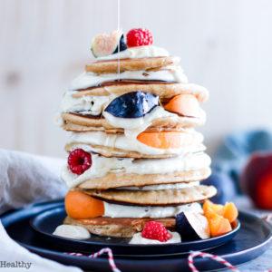 recette healthy-pancake-ricotta-beurre de cacahuete-crepe