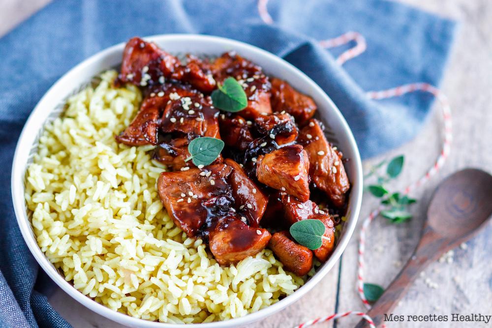 recette Healthy-lait de coco-riz-epice-poulet sauce soja