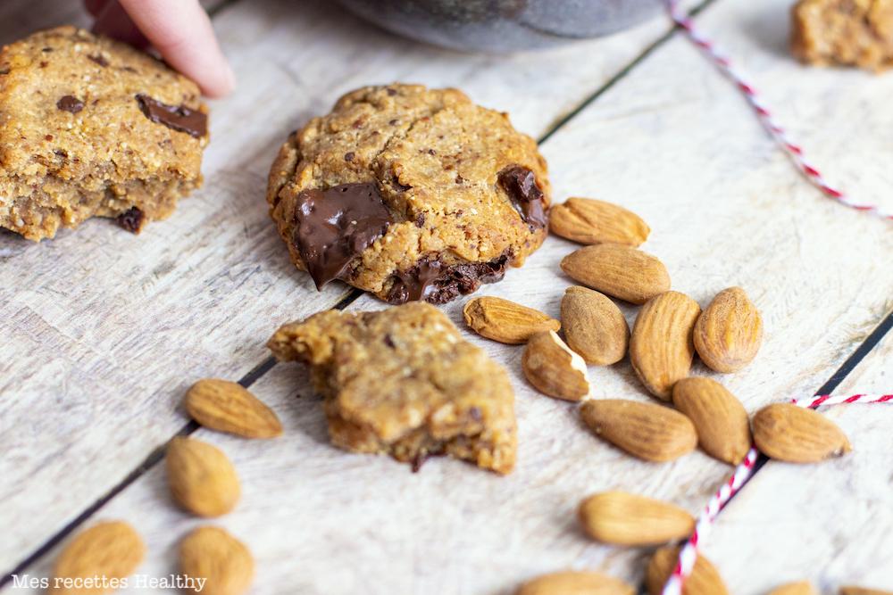 recette healthy-biscuit sans beurre-sans lactose-puree amande-bio-chocolat-cookie