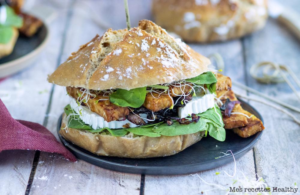 Burger végétarien au tempeh et chèvre