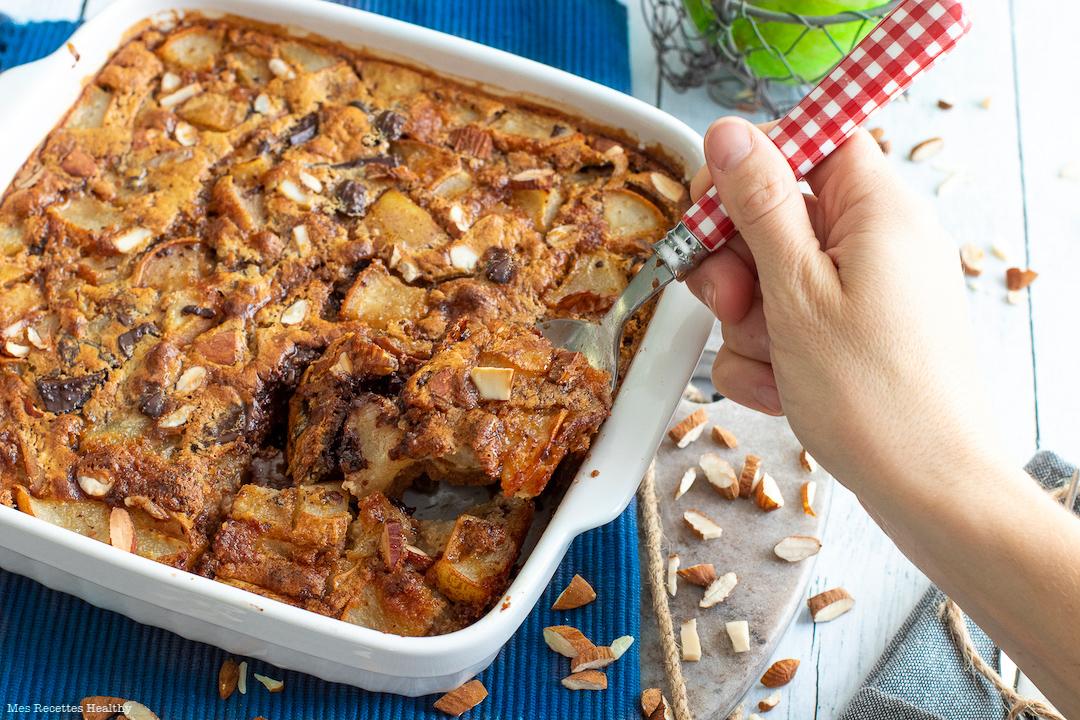 recette healthy-clafoutispoire-noisette-chocolat-sans beurre-gateau-clafoutis chocolat