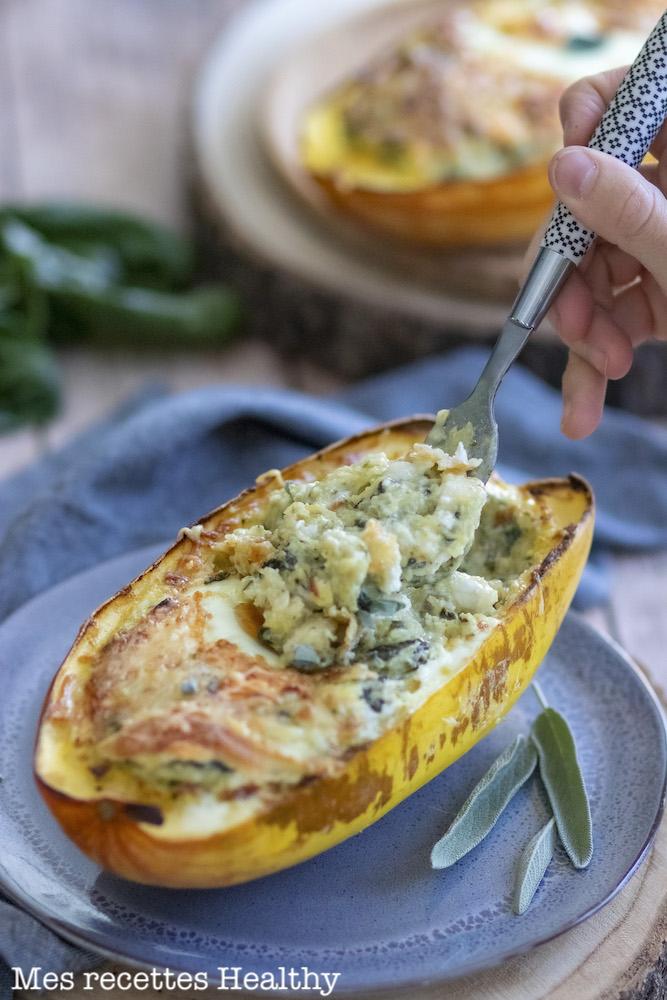 recette healthy)courge spaghetti-farce-potiron-butternut-fromage-chevre frats-legume-epinard