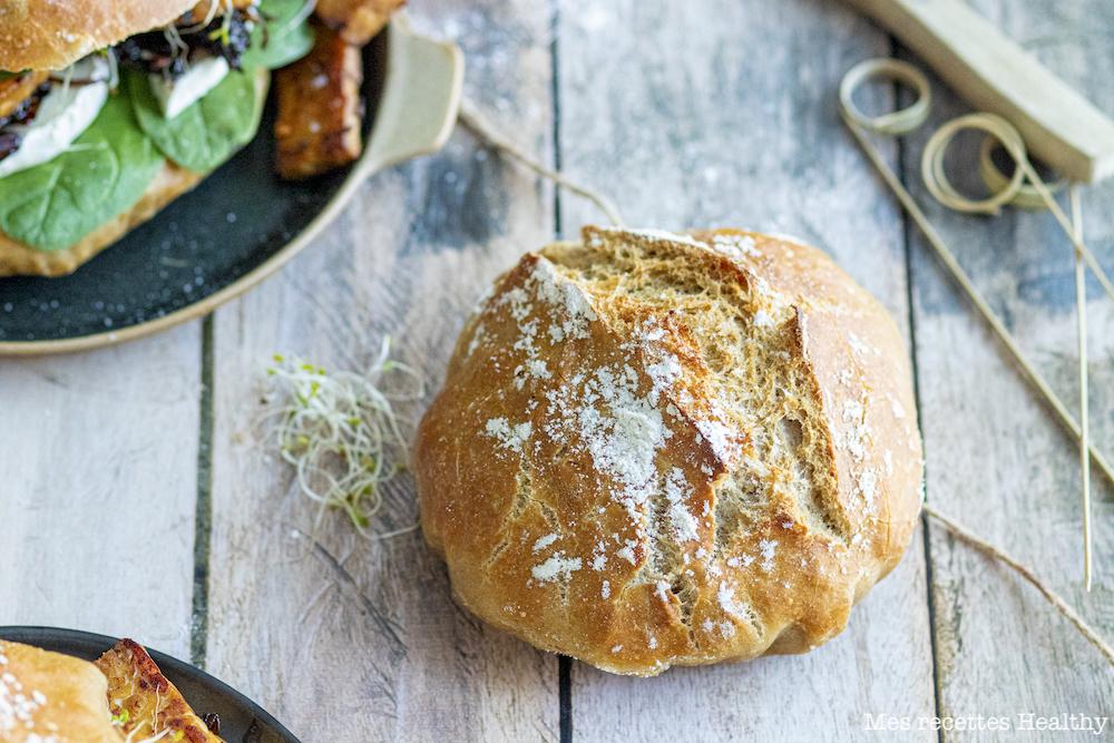 recette healthy-burger vegetarian-tempeh-chevre-oignon-pain burger-pain maison-sandwich