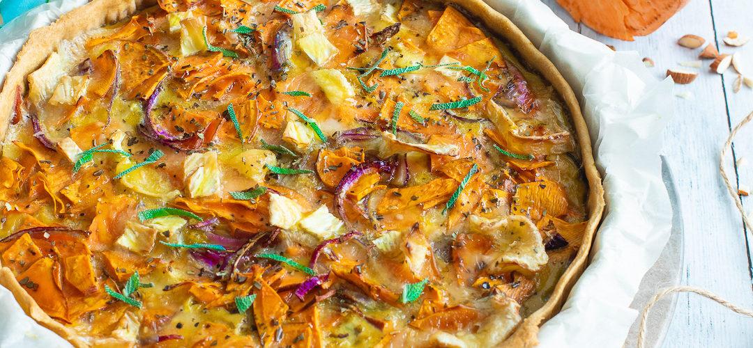 Tarte à la patate douce et au Brie