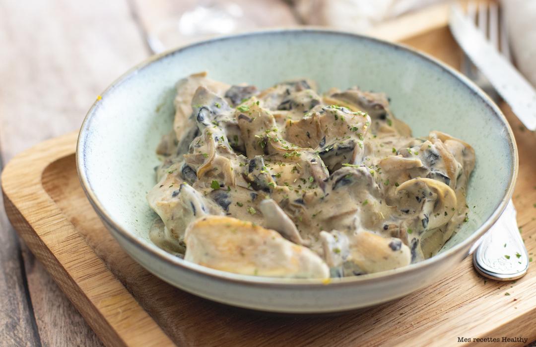 recette healthy-poulet à la crème-champignon-oignon