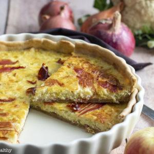 recette healthy-quiche au poireau-tarte au poireau-fondu-fromage-bacon-speck