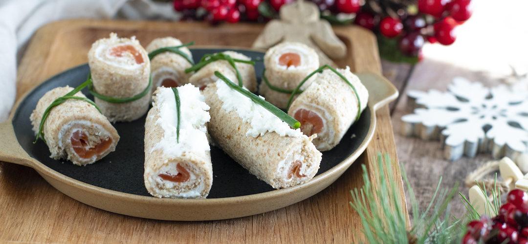recette Healthy-roule Aperitif-saumon-fromage de chèvre-noel-apero-fete