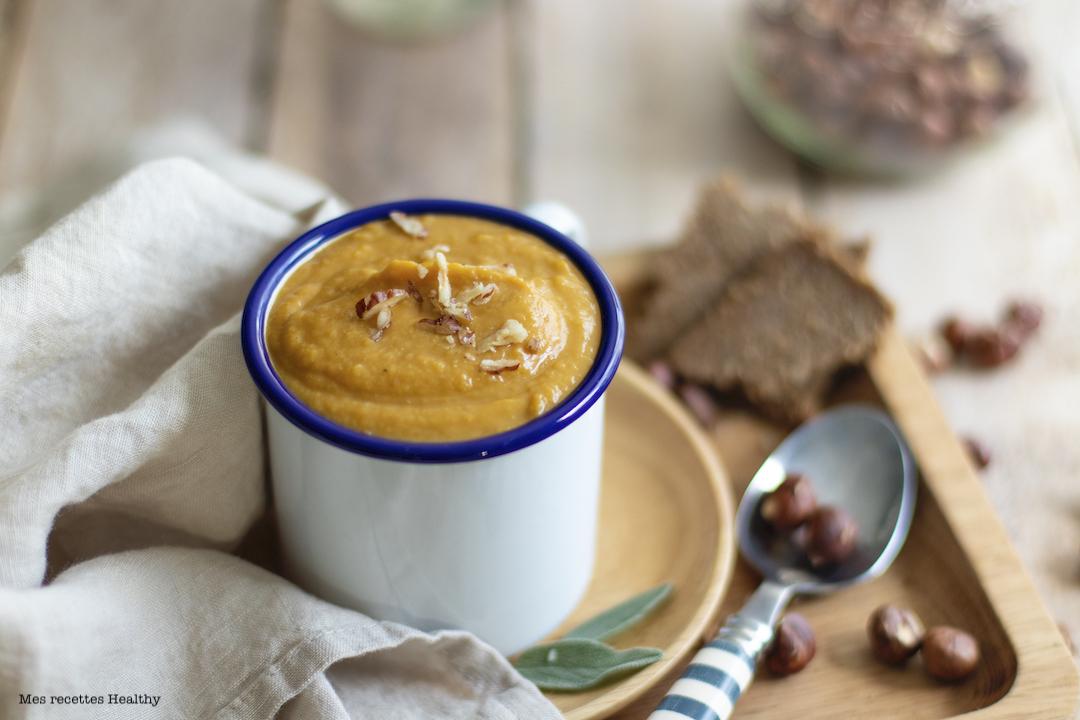 recette Healthy-soupe de butternut-lentille corail-lait de noisette-vegan-sans gluten-