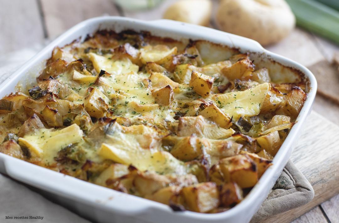 recette healthy-tartiflette-fondu poireau-pomme de terre-patate-vegetarien