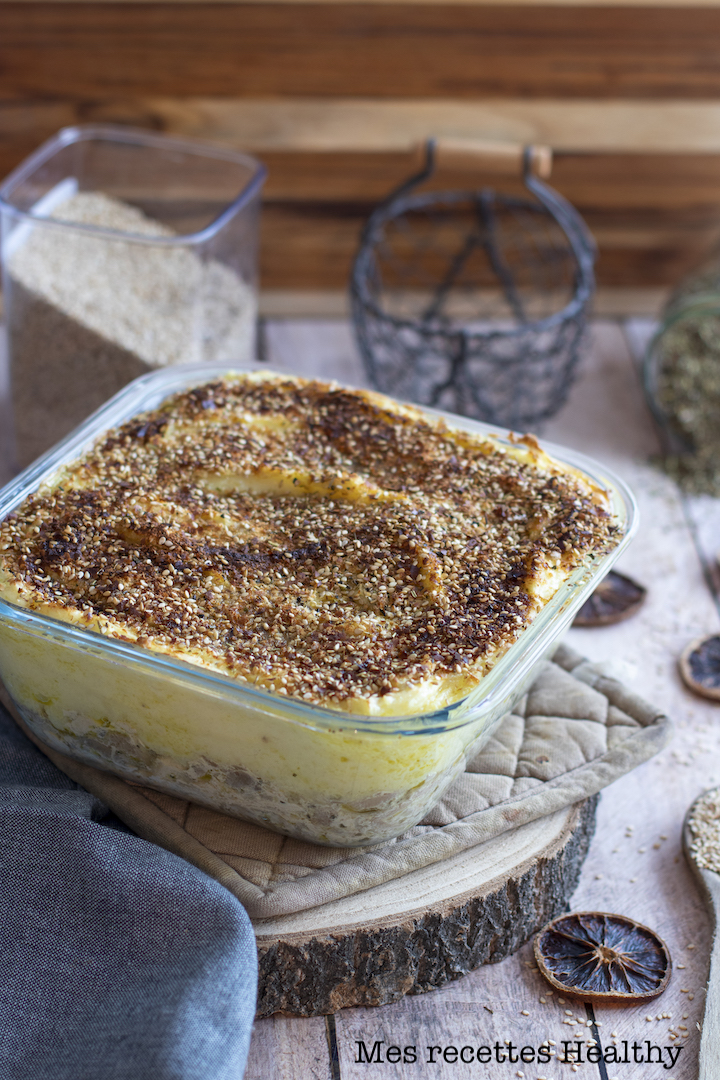 recette Healthy-hachis Parmentier-poulet-champignon-pomme de Terre-puree