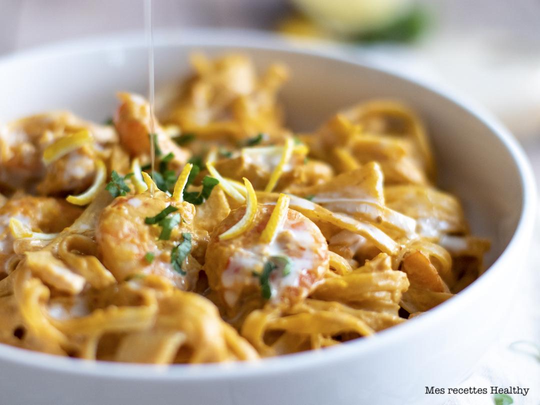 recette Healthy-nouille chinoise-Tagliatelles thaï-crevette-citron-curry
