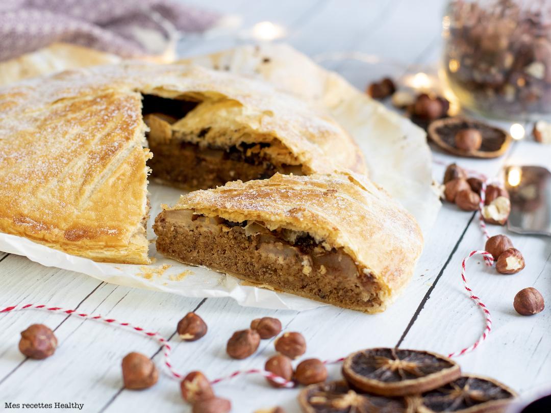galette des rois-épiphanie-recette healthy-poire-chocolat-frangipane sans beurre-amande-noisette