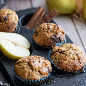 recette healthy-muffin American-chocolat-poire-sans lait-moelleux