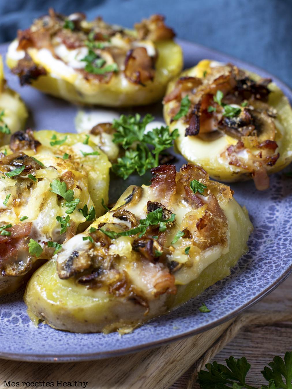 recette Healthy-pomme de terre garnie-bacon-fromage-reblochon-champignon