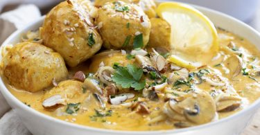recette healthy-boulette de poulet-lait de coco-chou kale-curry-nouille chinoise