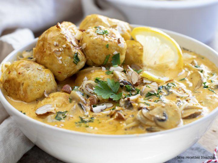 recette healthy-boulette de viande-lait de coco-chou kale-curry-nouille chinoise