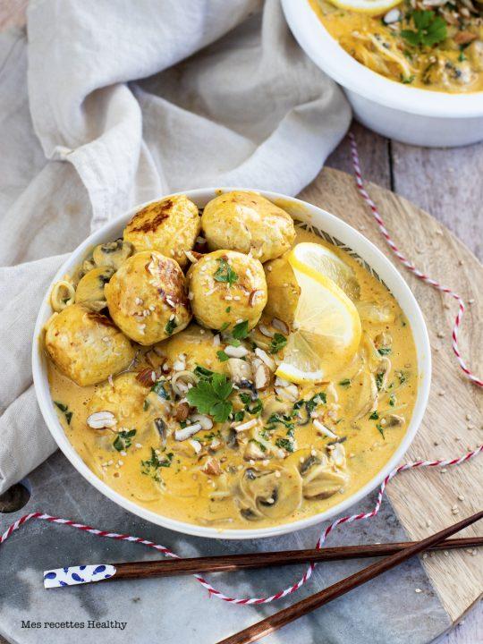 recette healthy-viande-lait de coco-chou kale-curry-nouille chinoise