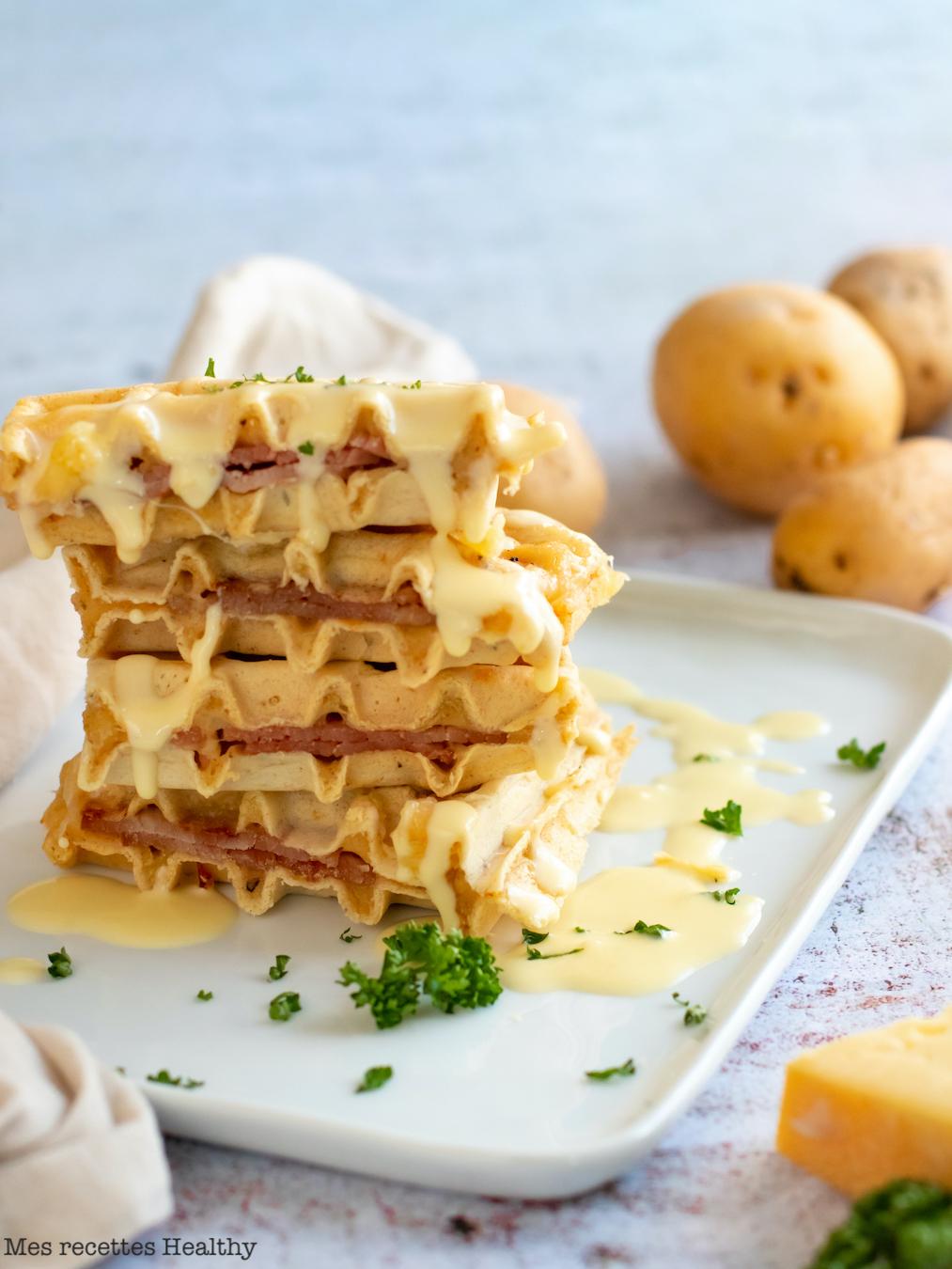 recette Healthy-gaufre salée-fromage-bacon-farce