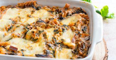 recette healthy-gratin de pâte-fromage à raclette-epinard-champignon