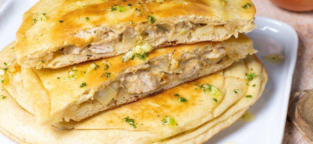 recette healthy-naan au poulet-legume-creme-epice