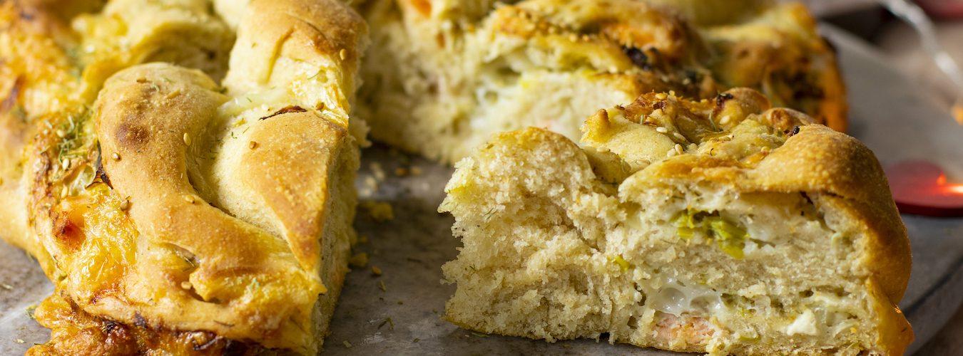 recette healthy-saint Valentin-pizza tressée-saumon-fromage de chèvre-poireau
