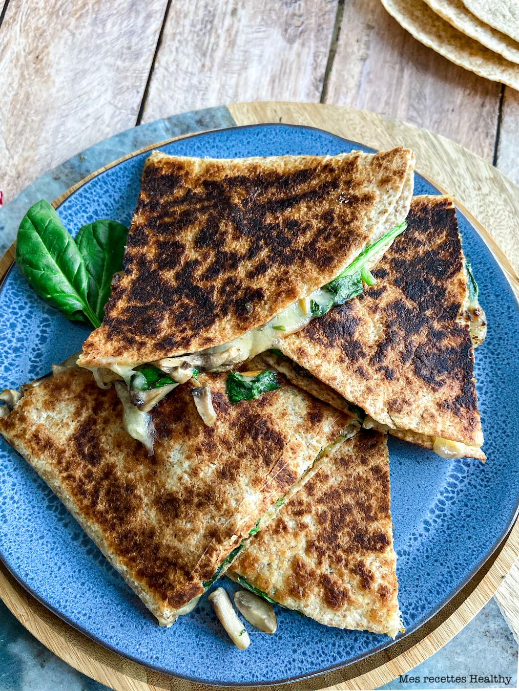 recette healthy-quesadillas-fromage-epinard