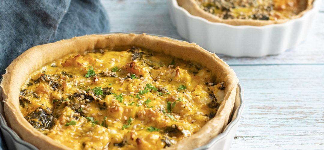recette healthy-quiche au potimarron-chou kale-fromage de chèvre frais