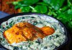 recette healthy-salon grillé-crème-epinard-epice-fromage-parmesan