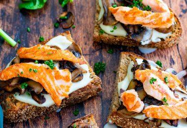 recette Healthy-tartine de salmon-creme de parmesan-chou fleur-tartine salée
