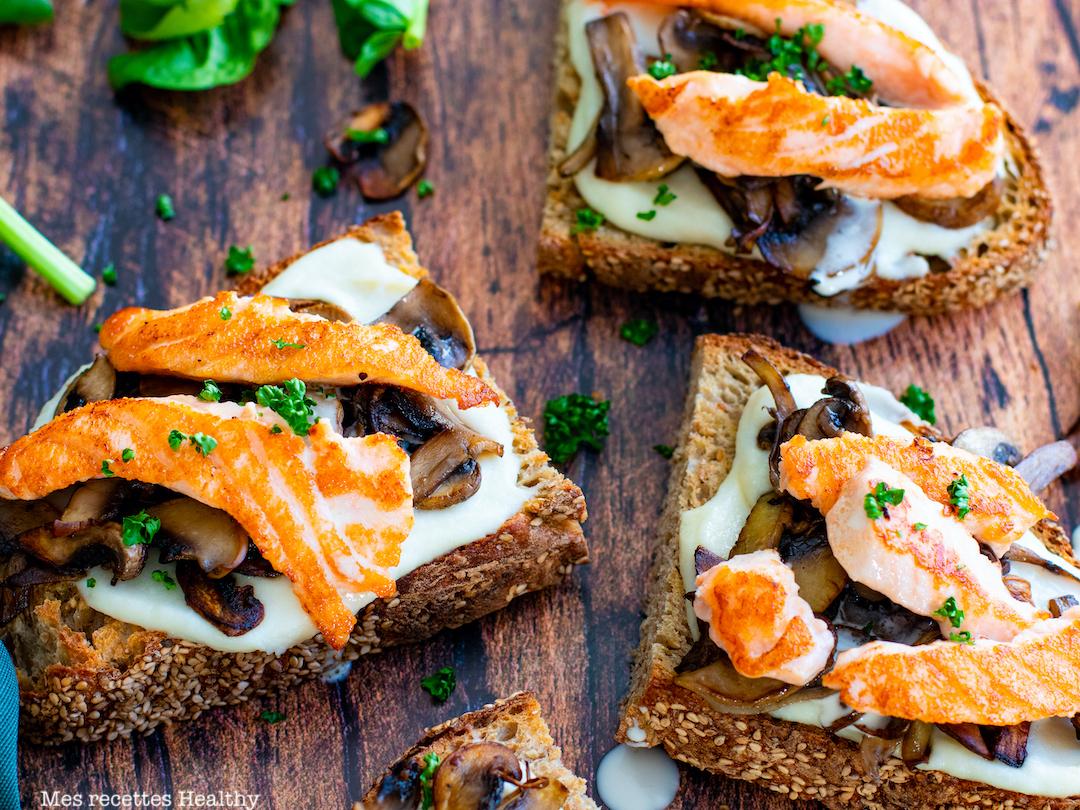 recette Healthy-tartine de saumon-creme de parmesan-chou fleur-tartine salée-tartine de chou-fleur