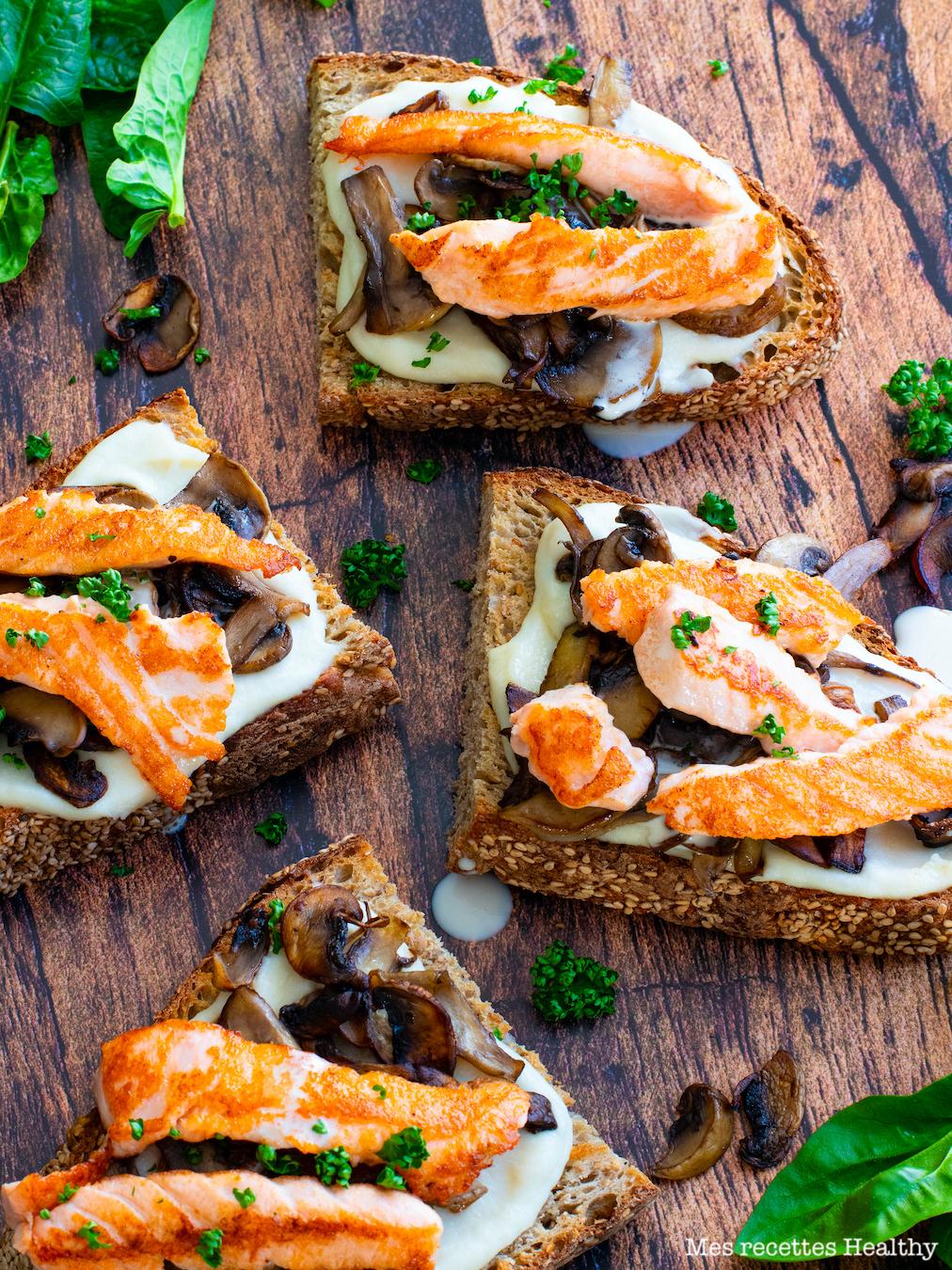recette Healthy-tartine de saumon-creme de parmesan-chou fleur-tartine salée