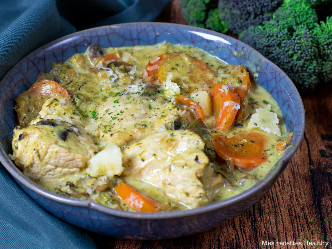 recette healthy-blanquette de poulet-blancquette de dinde-legume-carotte-sauce