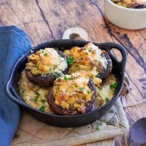 recette healthy-champignon farci-poulet-parmesan-fondu poireau