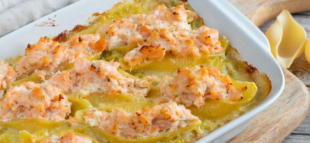 recette healthy-conchiglioni-saumon-aneth-ricotta-gratin