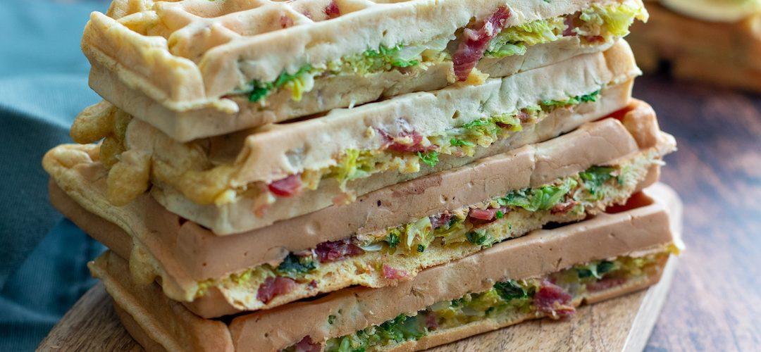 recette Healthy-gaufre au chou-chou frise-bacon-mascarpone-gaufre sale