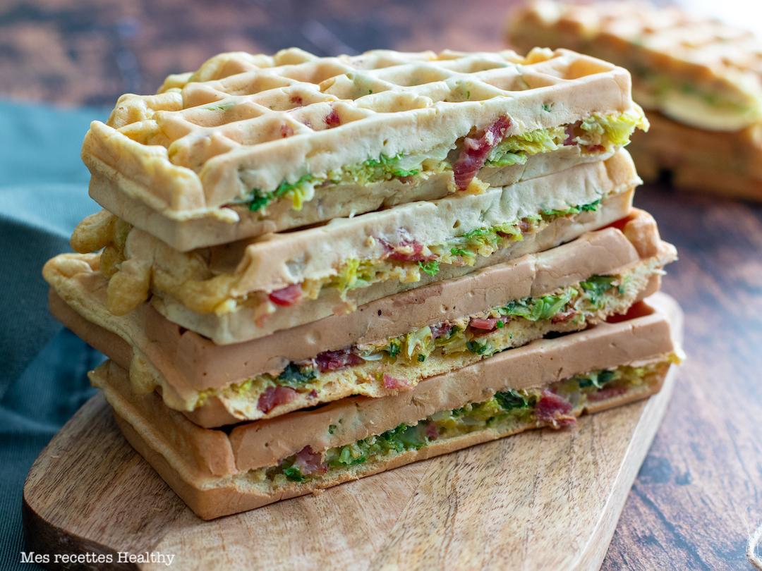 recette Healthy-gaufre au chou-chou frise-bacon-mascarpone-gaufre sale-gaufre au bacon