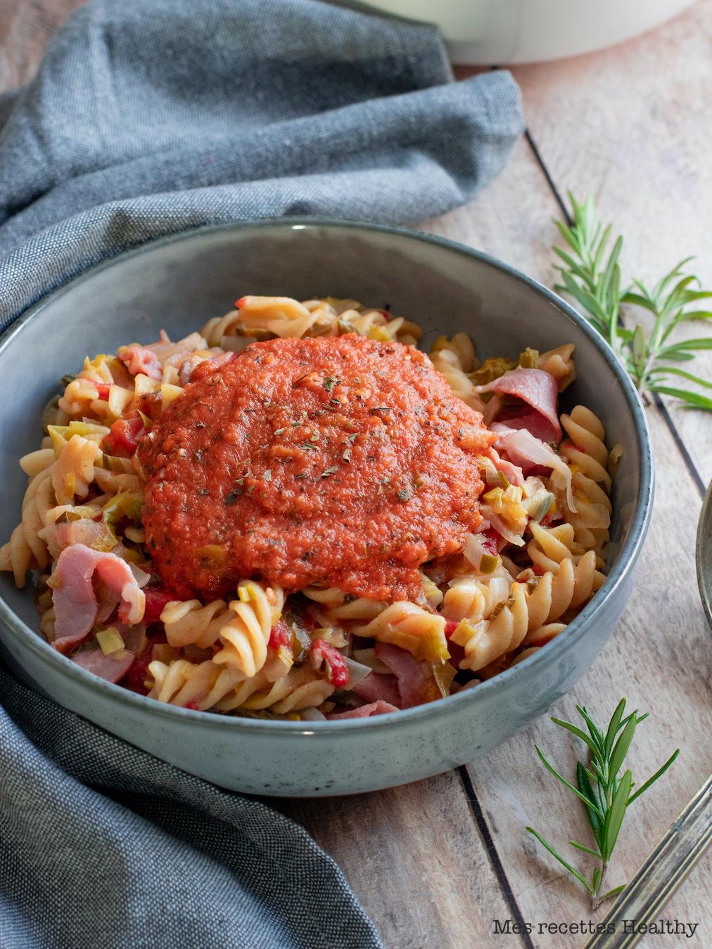 recette healthy-one pot pasta-one pasta pan-sauce tomato-pate-legume-poireau