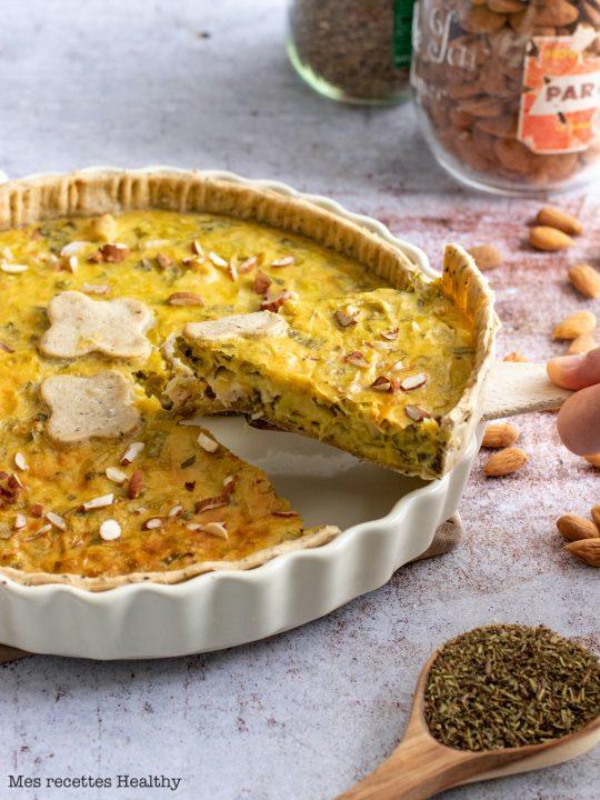 recette Healthy-tarte poireau-quiche poireau-poulet-lait de coco-poireaux
