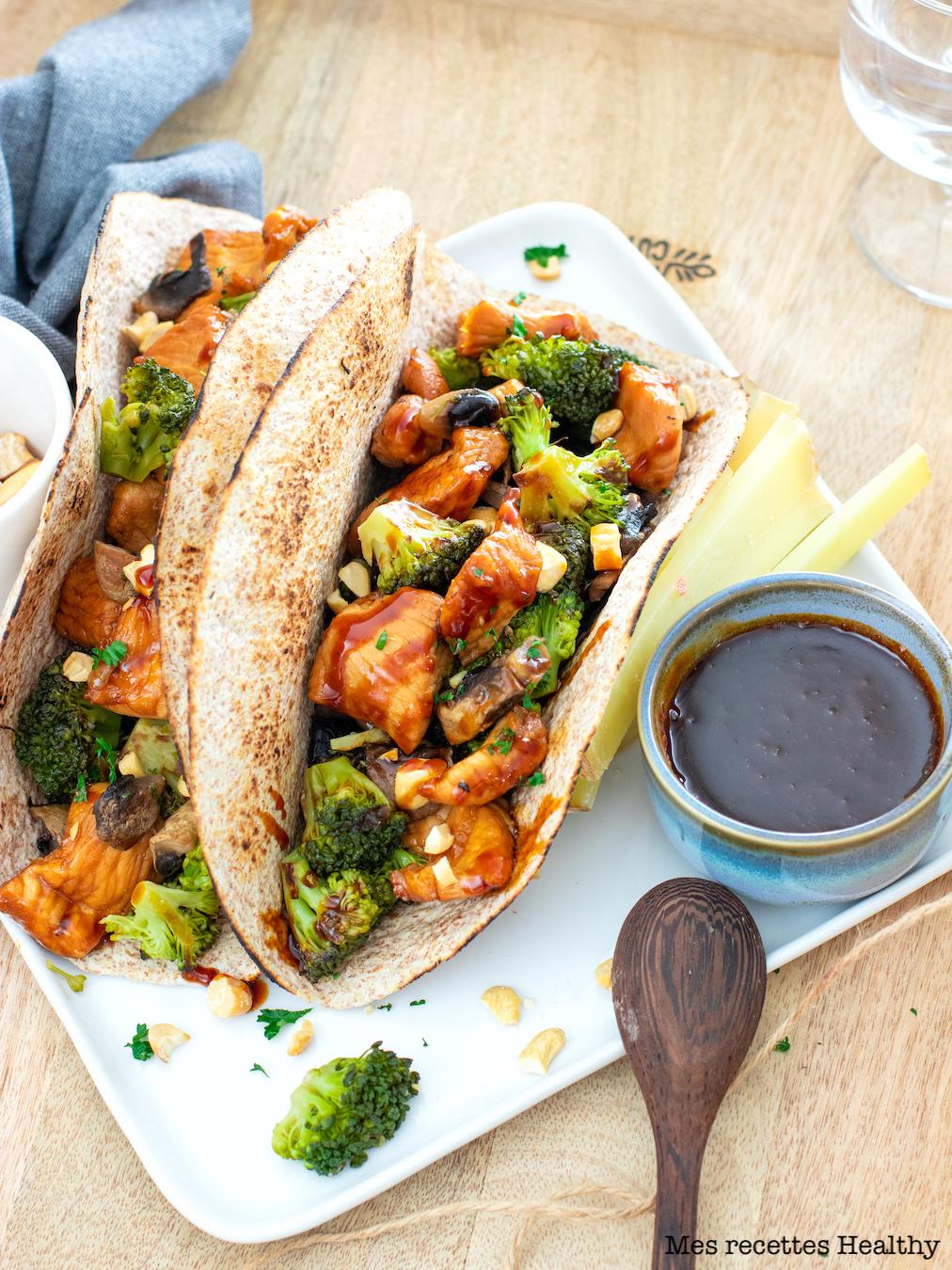 recette healthy-tacos poulet-legume-brocolis-sauce soja