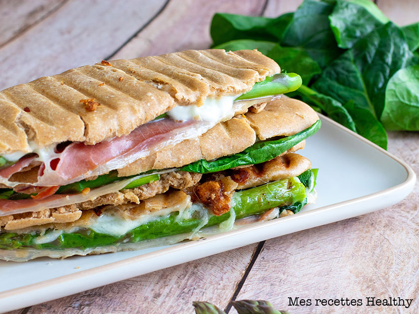 recette healthy-panini maison-jambon cru-asperge-epinard