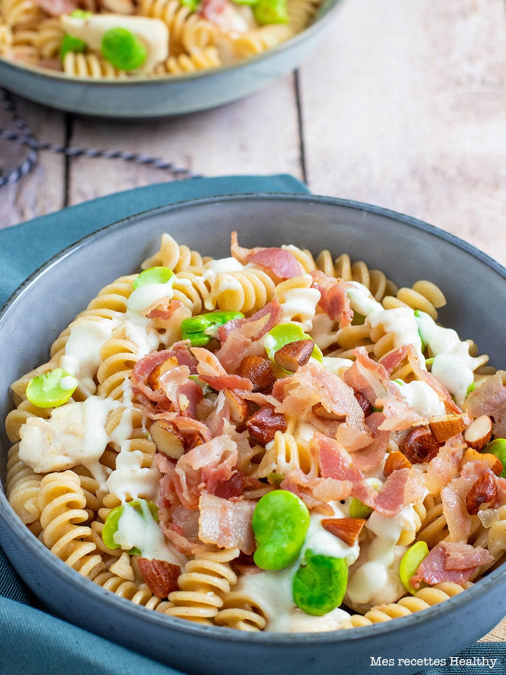 recette healthy-fusilis au fave-pancetta-bacon-pasta-pate-penne