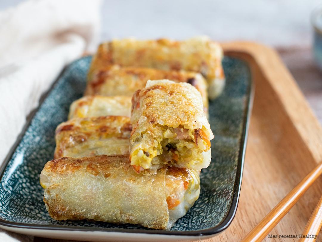 recette healthy-nem aux pois-riz-bacon-riz cantonais