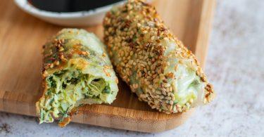 recette healthy-nem au poulet-epinard-mascarpone-sesame-croustillant