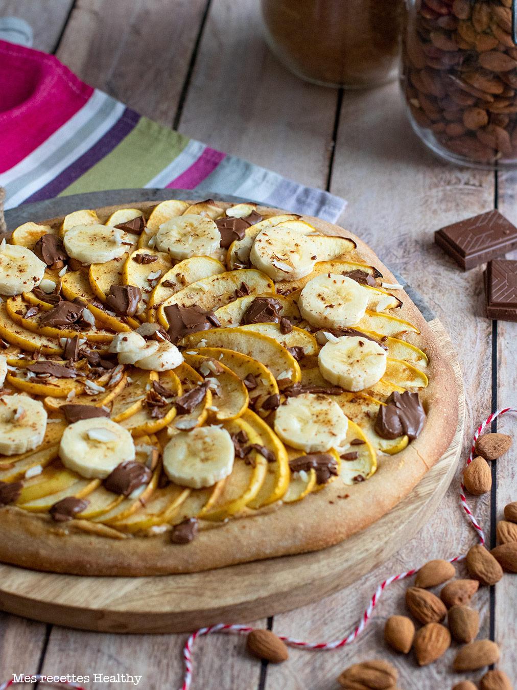 recette healthy-pizza sucres-pomme-banane-amande-chocolat