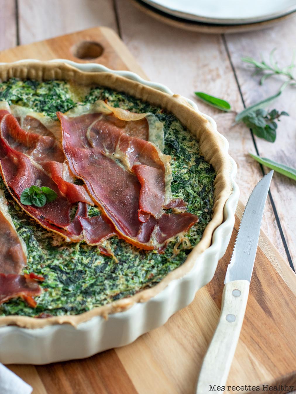 recette Healthy-tarte épinard-mozzarella-jambon cru-sans oeuf-