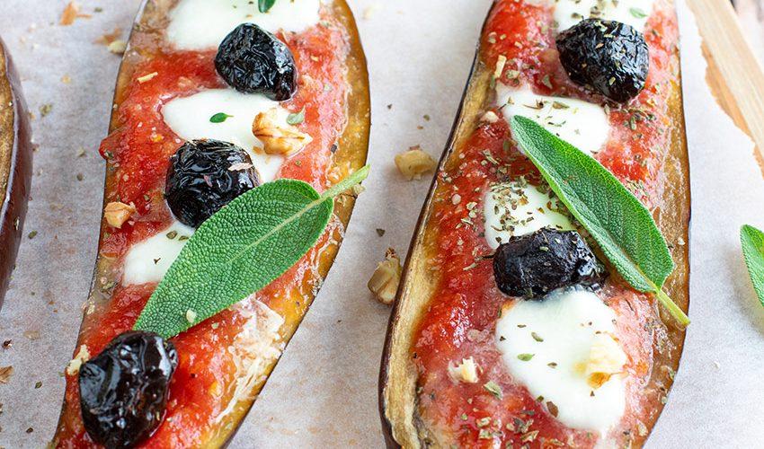 recette healthy-aubergine grillée-mozzarella-olive-thym