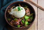 recette healthy-poêle de fève-champignon-oeuf poché-légume-champignon