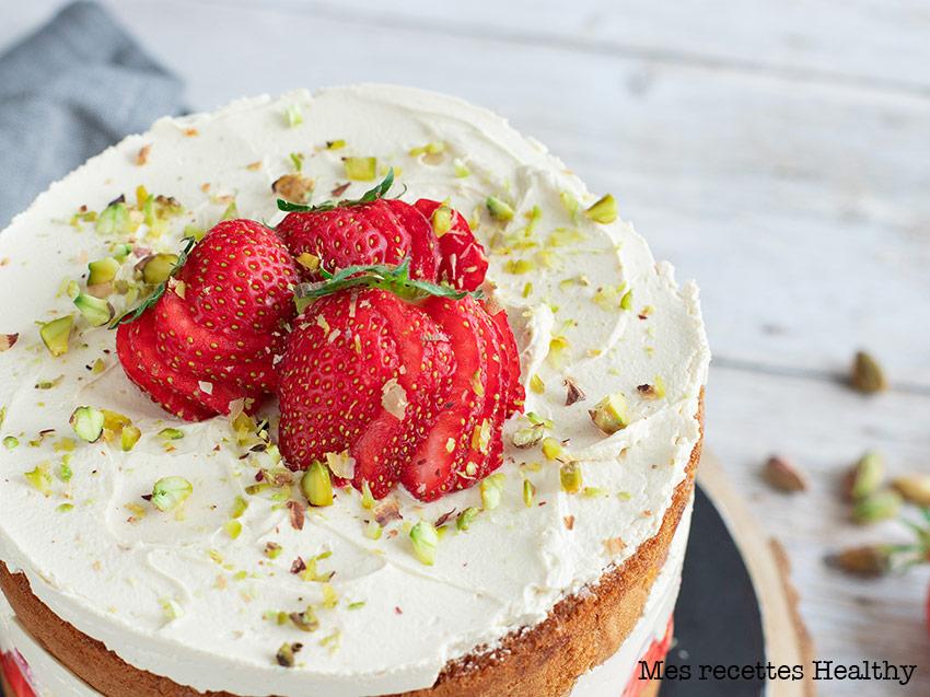 recette healthy-fraisier-creme de rose-anniversaire-genoise moelleuse-fraise
