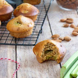 recette healthy-muffin à la rhubarbe-moelleux-sans beurre-banane